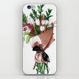 Flower Bouquet Wrapped in Paper iPhone Skin