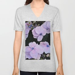 hydrangea in pastell rose and blue Unisex V-Neck
