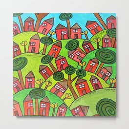 Ticky Tacky Red Row Houses on the Hill whimsical folk art landscape Metal Print