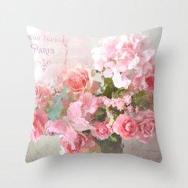 Paris Impressionistic Roses Floral Decor Throw Pillow
