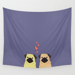 Purple Pugs Wall Tapestry