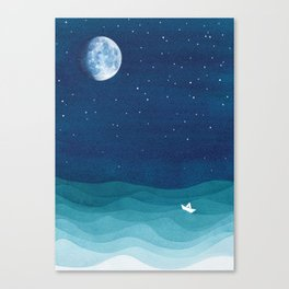 Moon Phase, teal watercolor Canvas Print