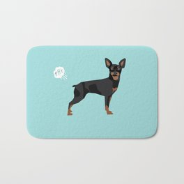 min pin miniature doberman pinscher farting dog cute funny dog gifts pure breed dogs Bath Mat