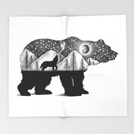 THE BEAR AND THE WOLF Throw Blanket