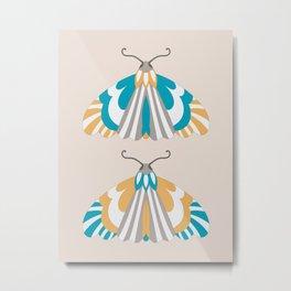 Moths - Blue and Orange Metal Print