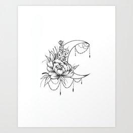 Feminine Moon - B&W Art Print