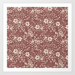 Abstract Geometric floral  - kind of damasc french style wallpaper  - red guava and cream Art Print