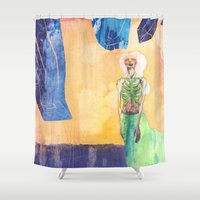 crystals Shower Curtains featuring Crystals by Nina Schulze Illustration
