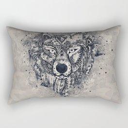 Geometric Wolf Mandala Rectangular Pillow