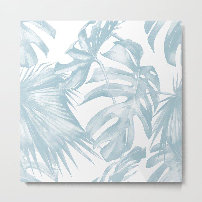 Blue Tropical Palm Leaves Print Metal Print