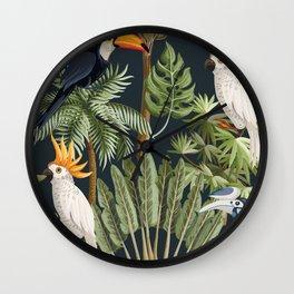 Exotic Bird & Leaf Pattern Wall Clock