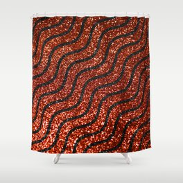 Red Glitter With Black Squiggle Pattern Shower Curtain