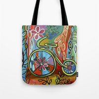 onward Tote Bags featuring Onward-Whimsical Tricycle Painting by Elizabeth Gonzalez Art