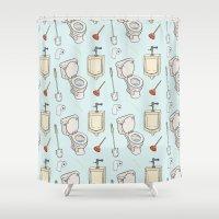 bathroom Shower Curtains featuring Bathroom Pattern by Josh LaFayette