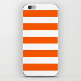 Willpower orange - solid color - white stripes pattern iPhone Skin