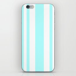Mixed Vertical Stripes - White and Celeste Cyan iPhone Skin