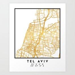 TEL AVIV ISRAEL CITY STREET MAP ART Art Print