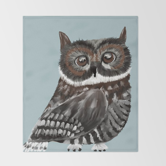 Adorable Owl In Blue Throw Blanket