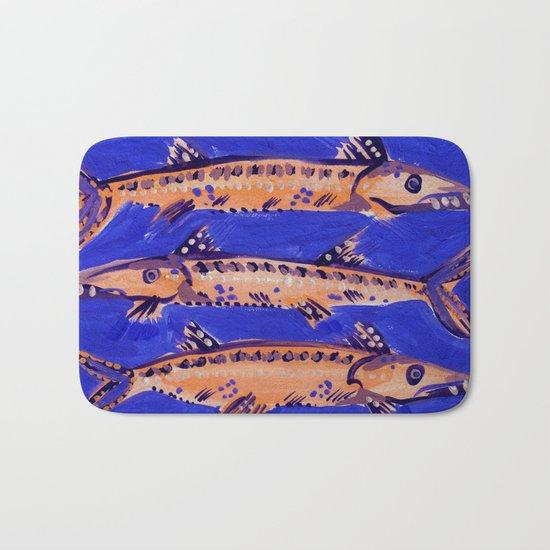 Barracuda on Blue Bath Mat