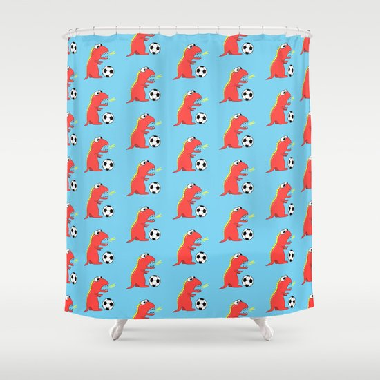Blue Cartoon Dinosaur Soccer Pattern Shower Curtain