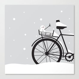 Bicycle & snow Canvas Print