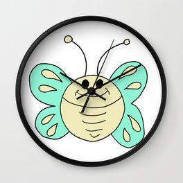 Hand drawn funny looking butterfly Wall Clock