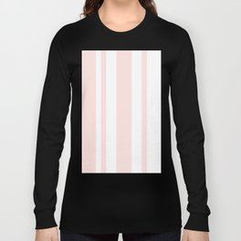 Mixed Vertical Stripes - White and Pastel Pink Long Sleeve T-shirt