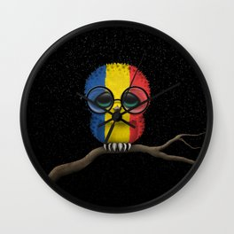 Baby Owl with Glasses and Romanian Flag Wall Clock
