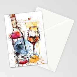The Wine Glass and Bottle Stationery Cards