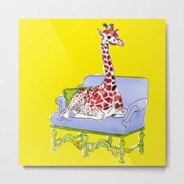 animals in chairs #10 Giraffe Metal Print