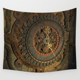 Steampunk, awesome clock, rusty metal Wall Tapestry