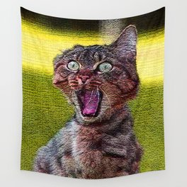 funny cat shocked Wall Tapestry