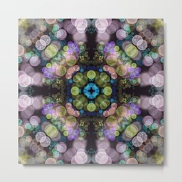 Lilac Mandala - Bokeh Lights Geometric Flower Metal Print