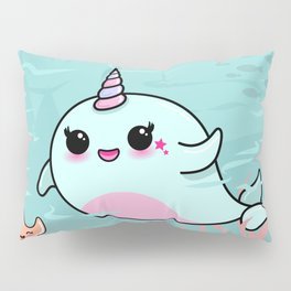 Cute Narwhal and Starfish Pillow Sham