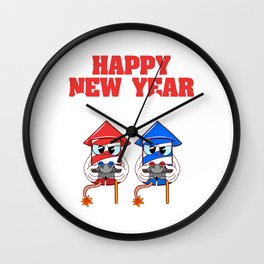 Happy New Year Gamers Crew 2020 January 1st Fireworks Merry Christmas Xmas T-shirt Design Wall Clock