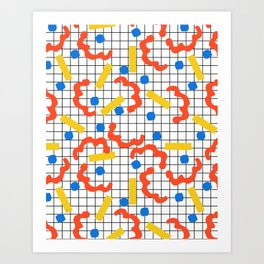 Primal - memphis throwback squiggle circle geometric grid lines dots trendy hipster 80s retro cool Art Print