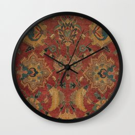Flowery Boho Rug II // 17th Century Distressed Colorful Red Navy Blue Burlap Tan Ornate Accent Patte Wall Clock