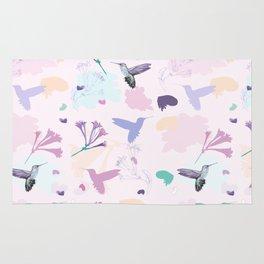 Hummingbird and flower pastel petal pattern Rug
