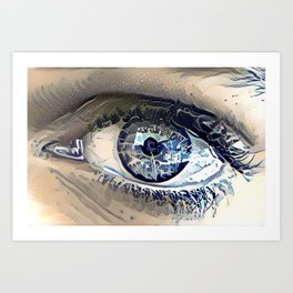Delft Blue Eye Art Print