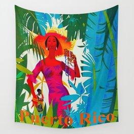 Vintage Caribbean Travel - Puerto Rico Wall Tapestry