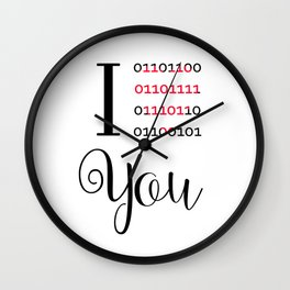 Our love in binary code Wall Clock