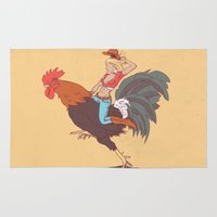 cock Area & Throw Rugs featuring Girl Riding a Cock by Italiux