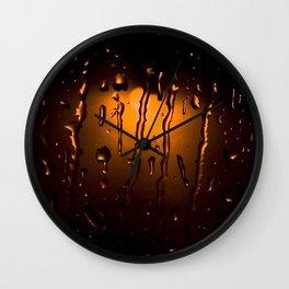 Rainy Night Rain Drops on Window Orange and Black Art Wall Clock