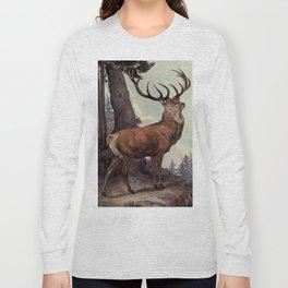 Vintage Red Deer Painting (1909) Long Sleeve T-shirt