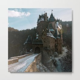 Fairytale Castle in a winter forest in Germany - Landscape and Architecture Metal Print