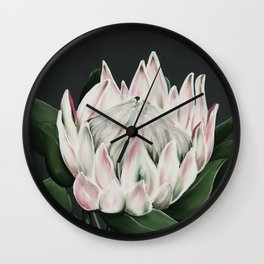 Protea Flower in Pastel Pink and Green Wall Clock