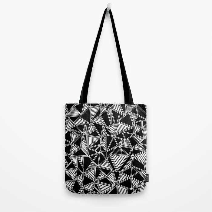 Abstract Outline Lines Black Tote Bag