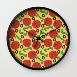 Pizza Topping Pattern Wall Clock