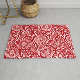 Holly Berry Red Coneflowers Rug