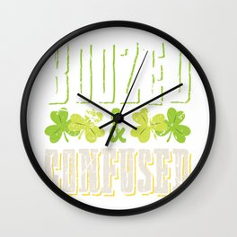 St Patricks Day Boozed and Confused Wall Clock